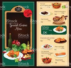 de cuisine espagnole modèle de menu de vecteur du restaurant de cuisine espagnole