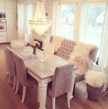 Dining Room Table Set With Bench Love The Grey Chairs With The Bench Keeping The Same Color Theme