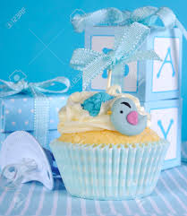 blue theme baby boy cupcake with cute birds and ribbon close
