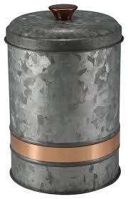 large galvanized canister with copper finish band industrial