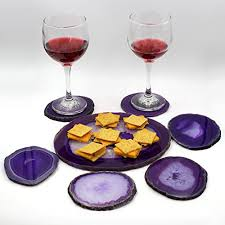 Unique Coasters U0026 Elegant Wine U0026 Cheese Serving Set Authentic Brazilian Agate