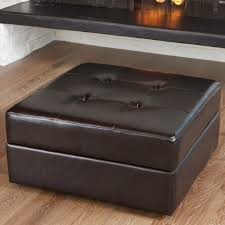 brown leather square ottoman furniture fascinating brown leather square ottoman with metal frame
