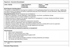 Housekeeper Job Description Resume by Cleaning Job Description For Resume Reentrycorps