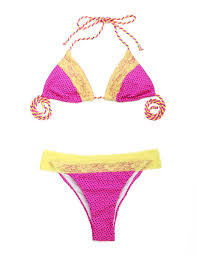pink polka dot yellow lace triangle exclusively lagoon