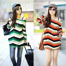 images for spring style for women 2015 korean fashion women slouchy t shirt colorful stripes scoop neck
