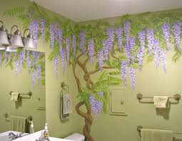 jaden s dreaming tree wisteria tree fairy mural girls room wisteria vines painted on powder room walls in private residence by dan seese