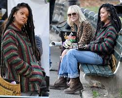 rihanna and cate blanchett sit on a park bench in central park