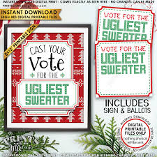 ugly christmas sweater party voting sign and ballots vote for the