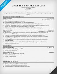Sample Resume For Assembly Line Worker by Greeter Cover Letters Example Test Plan Greeter Sample Resumes
