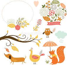 imagenes animadas de otoño sistema de personajes de dibujos animados y de elementos del otoño