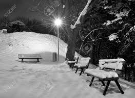 Park Bench Scene Park Night Scene In Brasov Winter Season Stock Photo Picture And