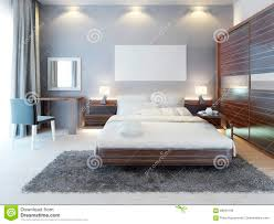 front view of the bedroom in a modern style stock illustration