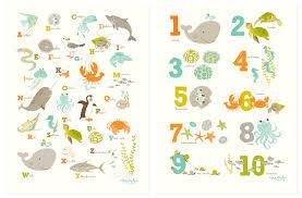 abc 123 ocean wall art set nursery art for children