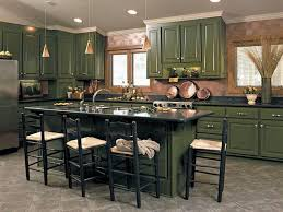 Kitchens With Green Cabinets by Kitchen With Forest Green Painted Cabinets And Black Countertops