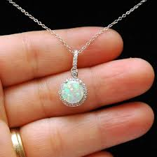 opal necklace silver images White opal october birthstone charm necklace blue opal pendant jpg