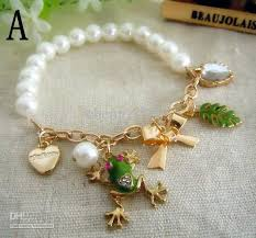 gold bracelet with pearl charm images Pearl gold plated chain frog bracelets small hanging bracelets jpg
