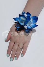 blue orchid corsage galaxy blue orchid satin mini wedding wrist corsage