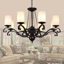 Rustic Style Chandeliers 3 Light Simple Rustic Chandeliers With Glass Shade Wrought Iron