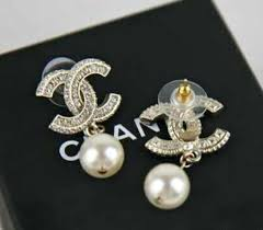 cc earrings chanel gold xl large cc pearl drop earrings gold authentic