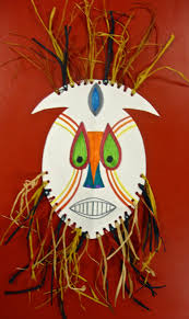 art paper scissors glue african mask