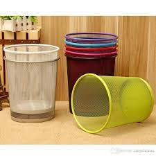 Yellow Wastebasket 2017 Round Metal Iron Classic Mesh Wastebasket Waste Basket Home