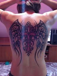 tribal wings with cross for tattoos for