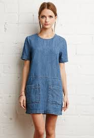 forever 21 pocket denim shift dress in blue lyst