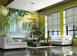 modern mural artistic 3d panoramic nature mural sleek polished black floor