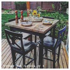 High Patio Dining Set Brilliant Outdoor High Top Table Furniture Brown Metal Patio