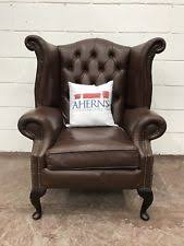 Chesterfield Wing Armchair Leather Wing Back Chair Ebay