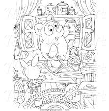 swine clipart of a coloring page of a black and white pig bear