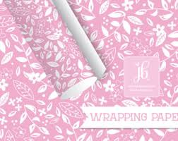 pink wrapping paper floral gift wrap etsy