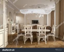 Classic Interior Design Luxury Classic Interior Dining Room Kitchen Stock Illustration