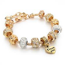 crystal gold bracelet images Luxury crystal gold heart charm bracelets bangles starvik jpg