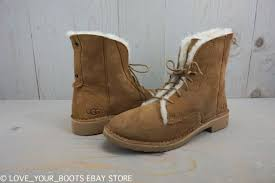 ugg womens cargo boots ugg quincy chestnut suede lace up foldable cuff combat boots