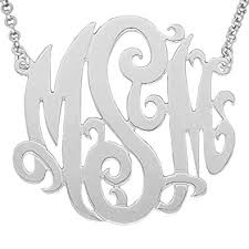 Three Initial Monogram Necklace Amazon Com Mono78 Sterling Silver 2 Inch Big Size With 1mm 0 040