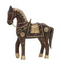 brown antiqued wood brass horse statue figurine asian style home