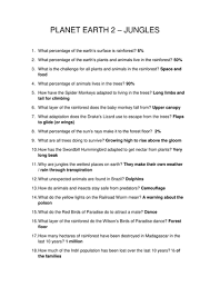 How The Earth Was Made Worksheet Answers Planet Earth 2 Jungles Tropical Rainforest Worksheet By