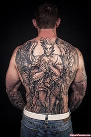 grey ink angel tattoo on man full back tattoo viewer com