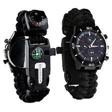 paracord bracelet whistle fire images Survival bracelet watch men women emergency survival watch with jpg