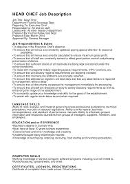 resume summary of qualifications for cmaa head chef job description job title head chef department food