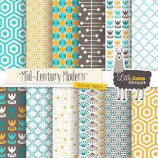 Mid Century Patterns by Mid Century Modern Digital Scrapbook Paper Geometric
