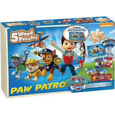 paw patrol 5 wood jigsaw puzzles wood storage box walmart
