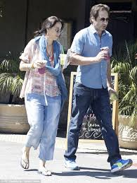 david duchovny and actress maggie wheeler go for a walk in malibu