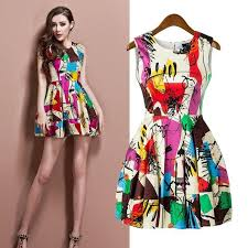 women abstract graffiti summer print dress date fashion short mini