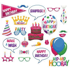 pack of 22 happy birthday card photo booth props on sticks