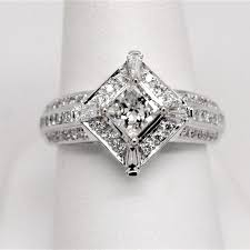 white gold halo engagement rings 1 46ctw princess baguette halo engagement ring 14k gold