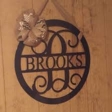 monogram door hanger front door wreath metal monogram home