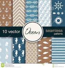 Nautical Theme Set Of 10 Seamless Vector Patterns Nautical Theme Stock Vector