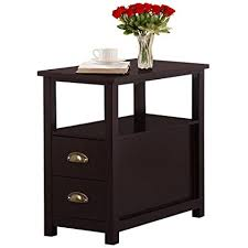 Living Room End Tables Yaheetech Chairside End Table With 2 Drawer And Shelf